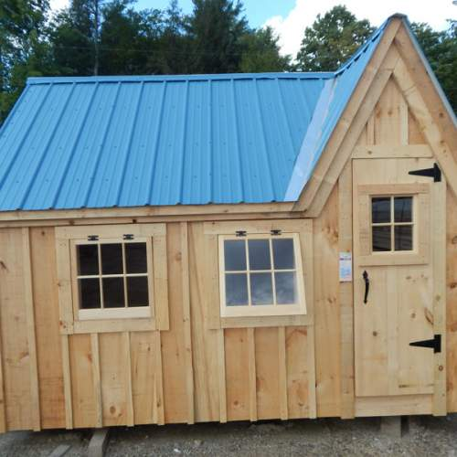 "2-0 JCS Built 2"" thick Pine Single Door with 16""x21"" Fixed window on 8x12 Dollhouse.  Exterior view.  Black Thumb latch."