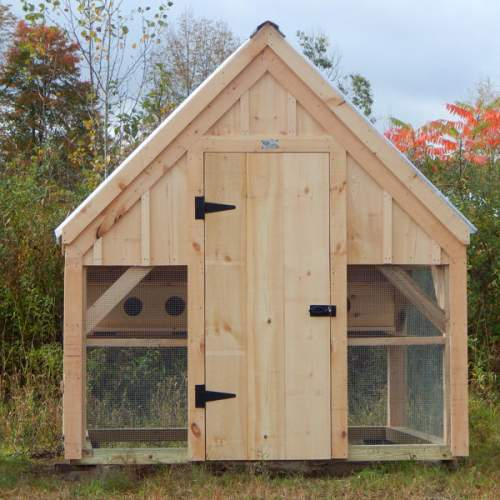 "2-8 JCS Built 2"" thick Pine Single on 8x8 Chicken Coop.  Exterior view. Black Turn Latch."