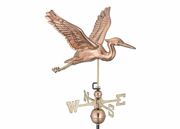 This copper weathervane features a flying heron. Herons look like prehistoric pterodactyls when they are in flight.