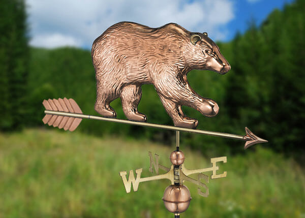 The Bear Weathervane is made from copper with brass directionals.