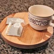 Rustic wooden lazy susan for countertop organization