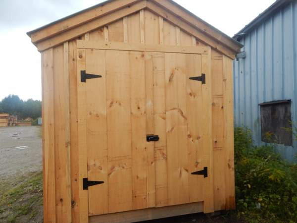 """5-0 JCS Built 2"""" thick Pine Double Doors on 8x18 Heritage. Exterior view. Black Turn Latch."""