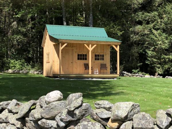 """3-0 2"""" Thick JCS Built Pine Door on the 12x16 Homesteader Cabin."""