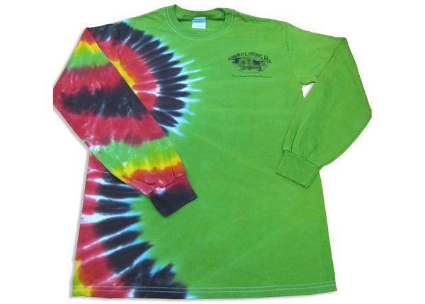 Jamaica Cottage Shop Tie-Dye T-shirt.  Long Sleeve, green with Tie-Dye.  JCS Logo.