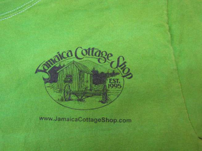 Jamaica Cottage Shop Tie-Dye T-shirt.  Long Sleeve, green with Tie-Dye.  JCS Logo.