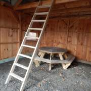 Loft ladder for 16x20 Vermont Cottage or other loft space.  Made of KD Spruce and 8' tall.