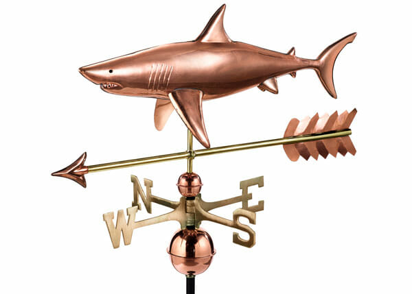 The Sharkk Weathervane is constructed of copper with brass directionals.
