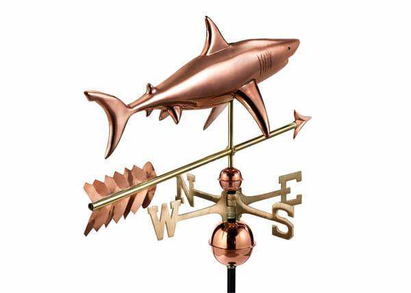 This Shark Weathervane would be a great addition to any building at a marina, dock, or seaside cabin.