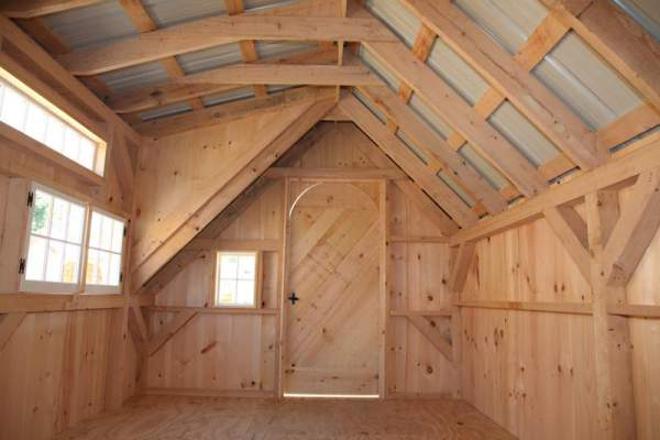 """3' JCS Built 2"""" thick Pine Arched Door on 10x20 Smithaven.  Interior view. With Black Turn Latch."""
