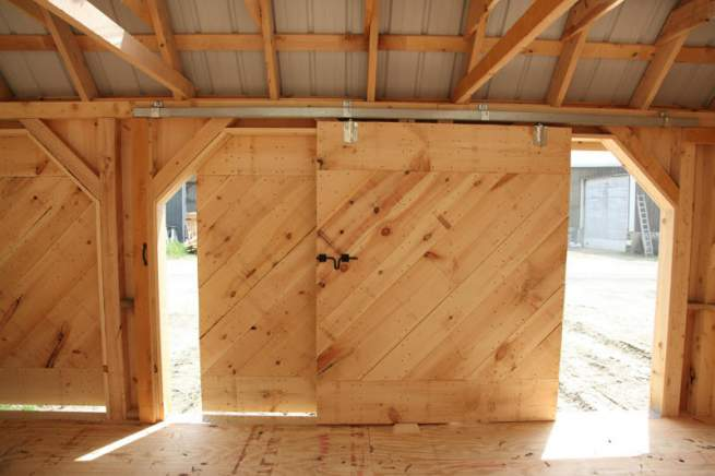 """5' JCS Built 2"""" thick Pine Sliding Barn Door.  Interior view with track."""