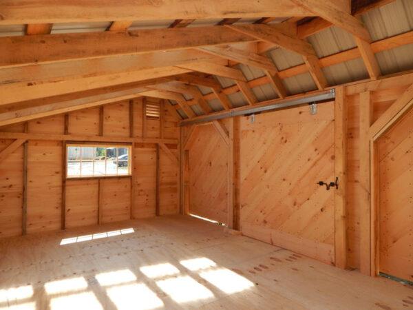 "5' JCS Built 2"" thick Pine Sliding Barn Door. Interior view.  Black Drop latch."