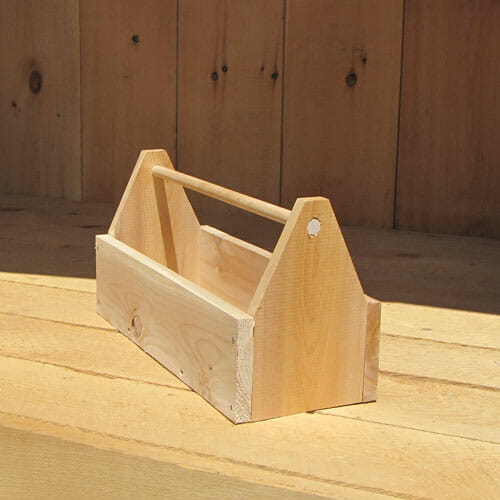 This cedar toolbox is handcrafted by wood artisans in Vermont.