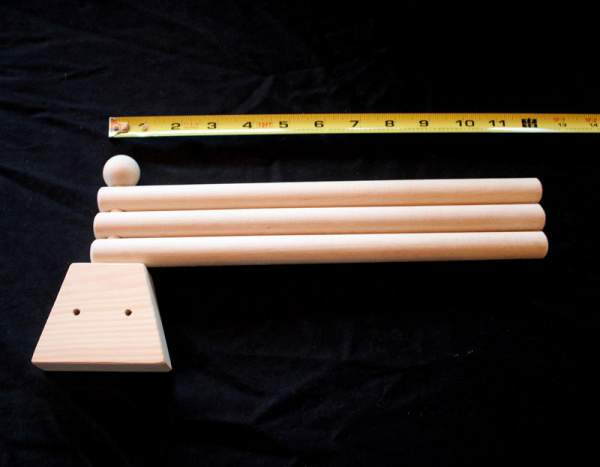 Swinging towel rack is made of high quality Pine and left unfinished.  Small storage solution for Tiny House or cottage.