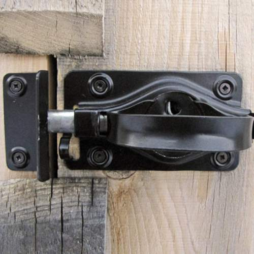 Steel door handle finished with black, satin enamel.  Turn latch adjustable to most door thicknesses.