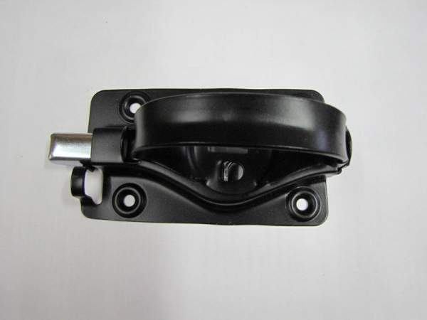 Steel door handle finished with black, satin enamel.  Turn latch adjustable to most door thicknesses.