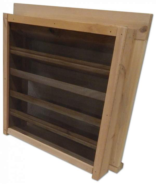 """Wood Louvered Vent for your Shed, cottage or Barn.  Handmade from localy sourced sustainable Pine. Roughly 15""""x16""""x3.5"""". Mesh Screening."""