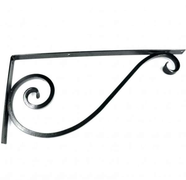 Wrought Iron Brackets made of steel and powder coated black.  Rustic Cottage Decor.
