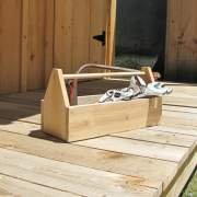 The handmade cedar toolbox comes unfinished, ready to be painted, stained, varnished, or left natural to weather.