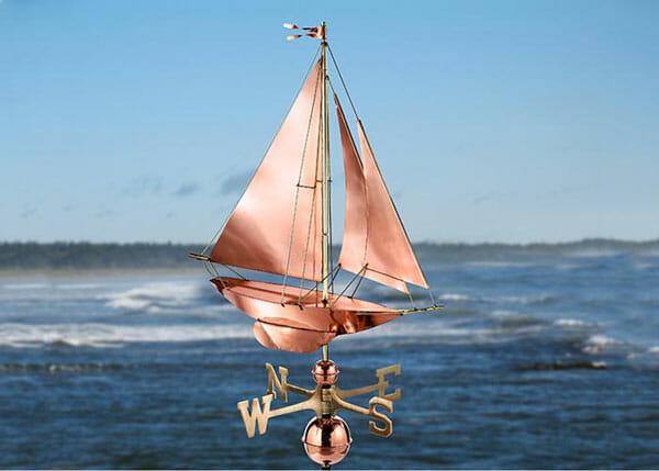 Sailboat Weathervane for boat storage sheds, garages and barns