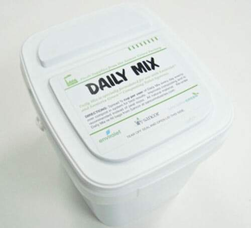 Daily mix promotes the breakdown of compost and helps maintain composting toilets.