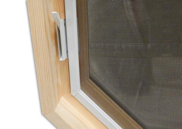Detail of the lock on this hinged insulated awning window.