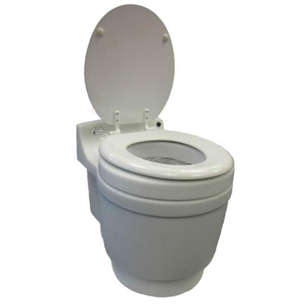 Laveo Dry Flush Toilet.  Self contained, compact & odorless. For use in Tiny House, cabin, camp or RV.