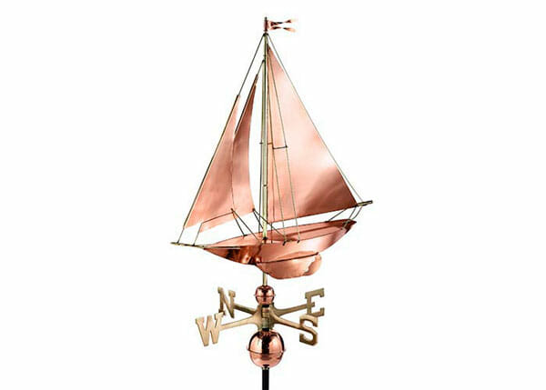 Weathervanes are made of copper and brass.