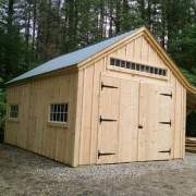 "9-0 JCS Built 2"" Thick Pine Double Doors with Wrought Iron Strap hinges on 14x20 One Bay Garage."