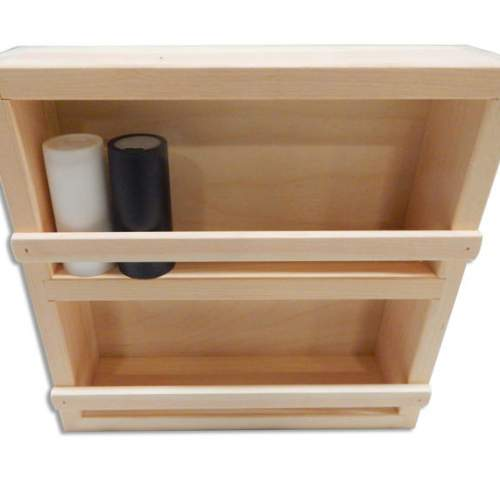 """Spice Rack made from high quality Pine is left unfinshed.  Overall dimensions 11.5""""Wx12""""Hx2.75""""D."""