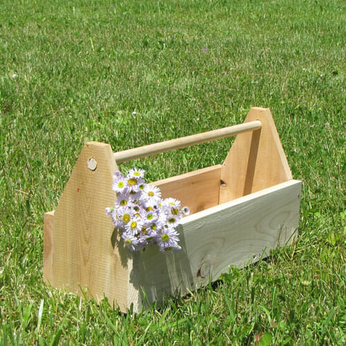 Some customers use this cedar toolbox as a rustic planter for flowers.