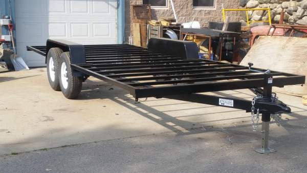 """Tiny House Trailer with 16"""" on center cross members.  Primed and painted Black.  With VIN number."""