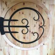 "6' Round 2"" Thick JCS Built Circular Door with custom forged wrought iron hinges."
