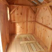 6-foot by 12-foot storage shed interior