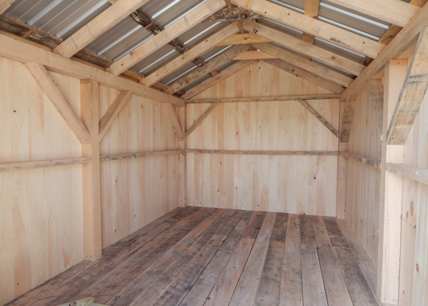 Hemlock lumber is used for the floor system and decking in this small shed.