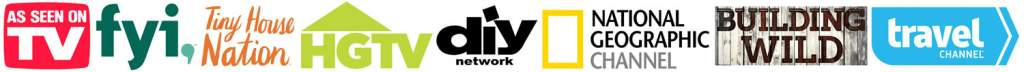 As-Seen-On-TV Updated Logo Icons - fyi, Tiny House Nation, HGTV, diy network, National Geographic Channel, Building Wild, travel channel