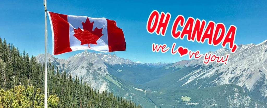 Oh Canada, we love you! Graphic with Maple Leaf Flag