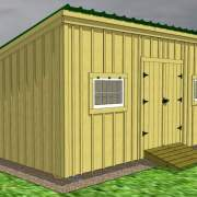 12x20 Shed Roof 3D Model with Barn Sash Windows and Pressure-Treated Ramp