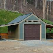 14x20 One Bay Garage Storage Barn with Overhang Add-Ons and Asphalt Shingles