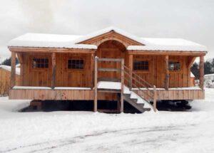 14x30 Gibraltar Cabin with Skinned Hemlock Posts and Barn Sash Windows