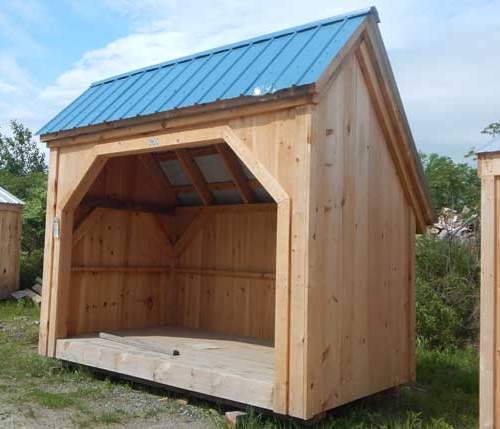 6x10 Woodbin Assembled with Roman Blue Roof