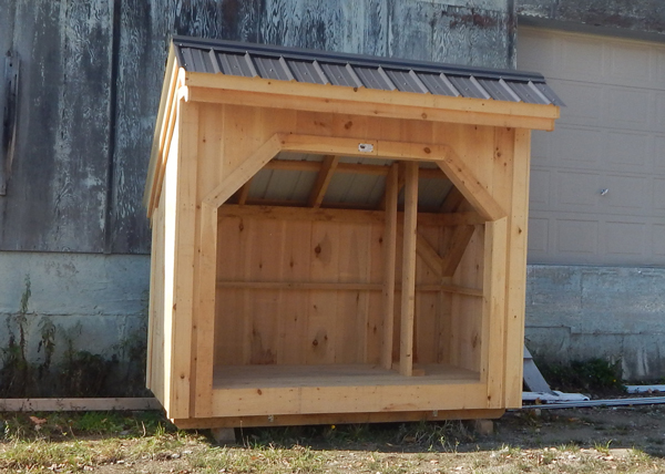4x8 Woodbin with Matte Black Roof Firewood Storage