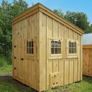 Small sheds work well as chicken coops for little farms.