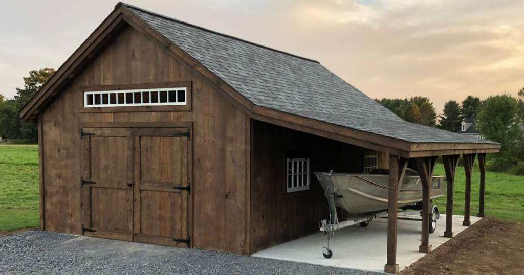 Add an overhang to a garage, barn or shed for a boat storage solution.