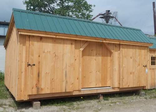 12x20 Three Sled Shed with Evergreen Roof
