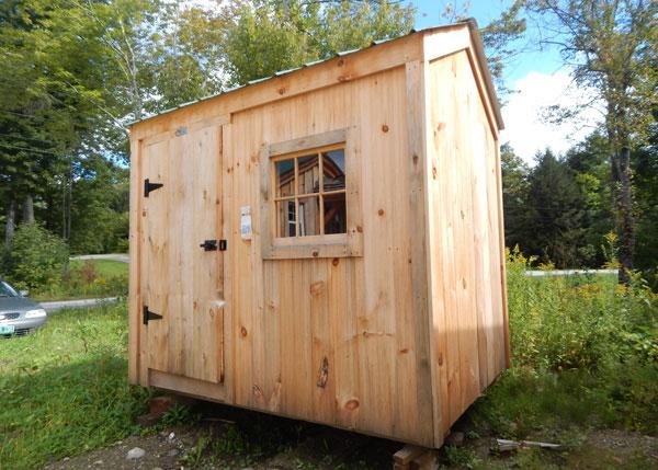 6x8 Economy Nantucket Storage Shed with Barn Sash Window and Pine Board siding