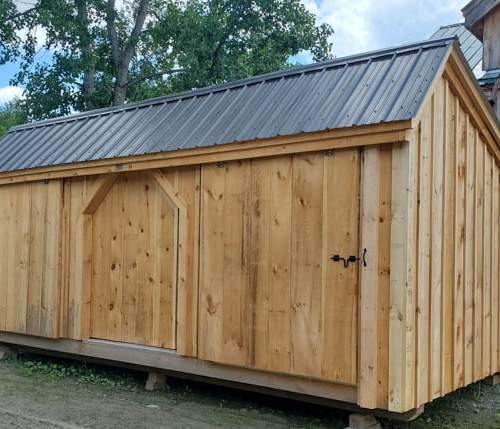 12x20 Three Sled Shed - Matte Black Roof