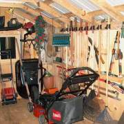 Use racks and hooks to hang stuff in your shed