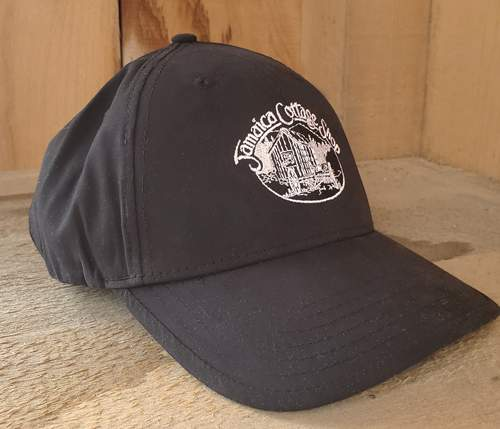 Jamaica Cottage Shop Embroidered Nylon Black Baseball Hat with JCS Logo