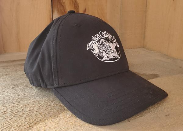 Jamaica Cottage Shop Embroidered Nylon Black Baseball Hat with JCS Logo
