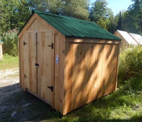 8x8 Economy Vermonter with Shiplapped Pine Board Siding and Evergreen Corrugated Metal Roofing